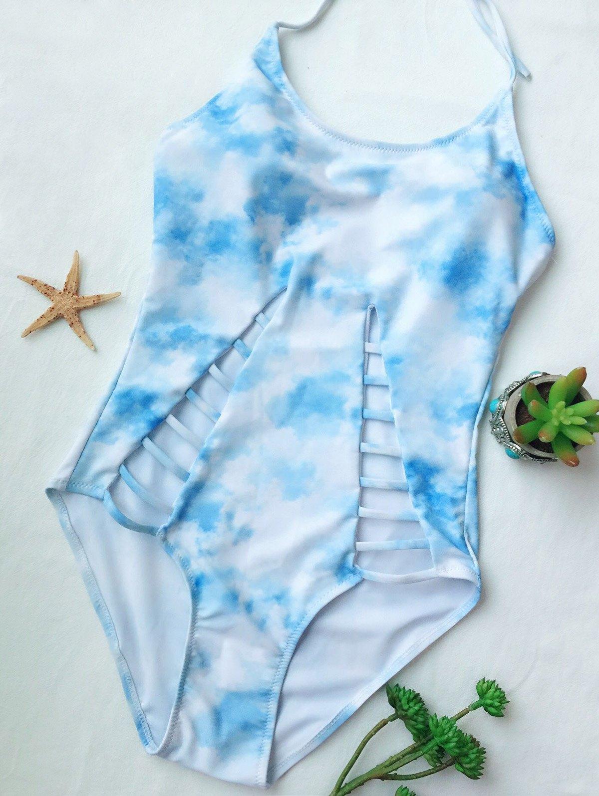 Tie-Dyed Cutout One-Piece Swimwear