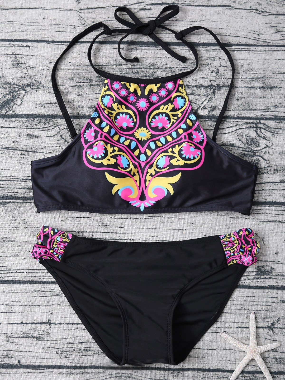 Totem Print High Neck Bikini Set