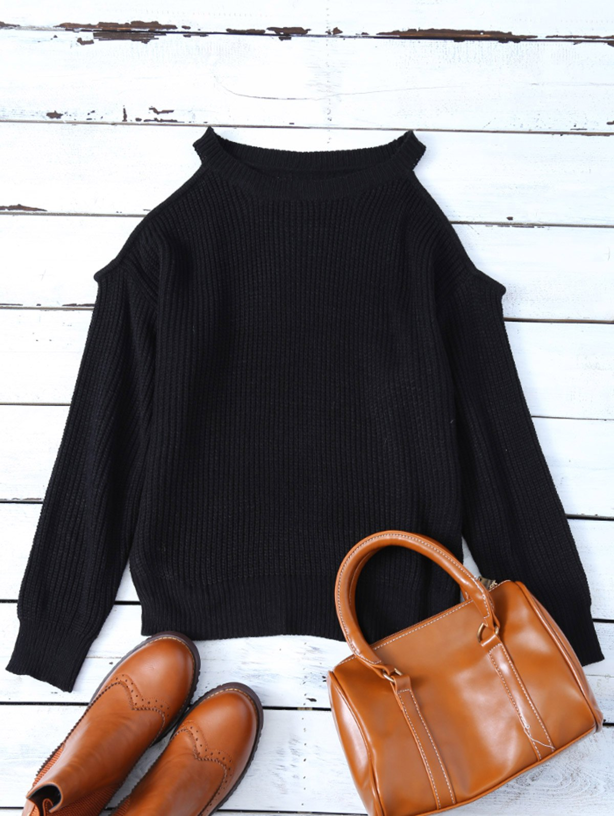Cold Shoulder Chunky Sweater