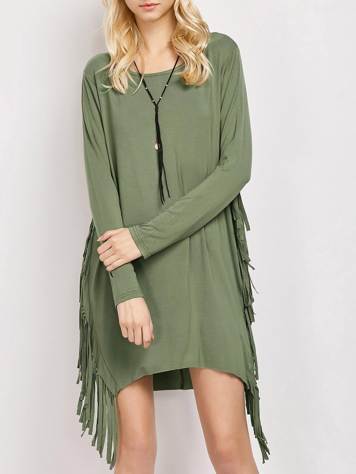 Fringed Long Sleeve Dress
