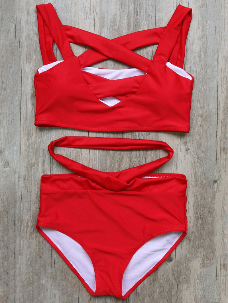 Cutout Crossover Bikini Set
