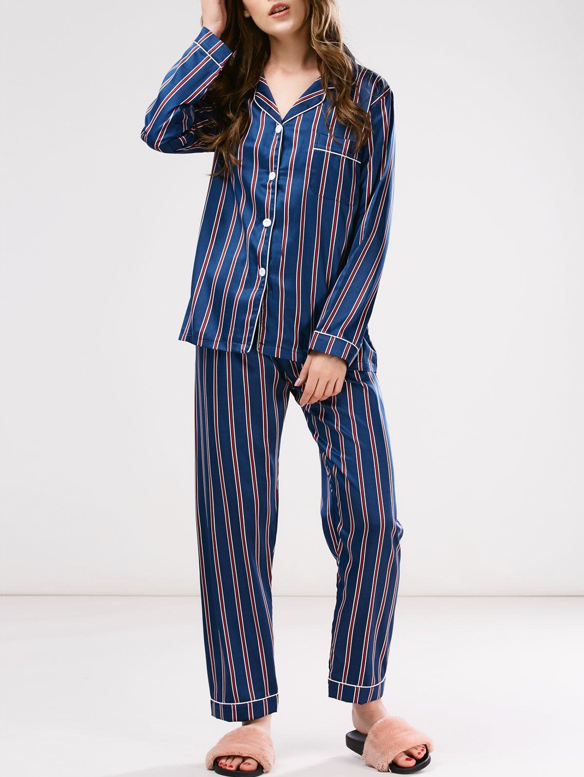 Striped Button Up Cotton Pajamas Set