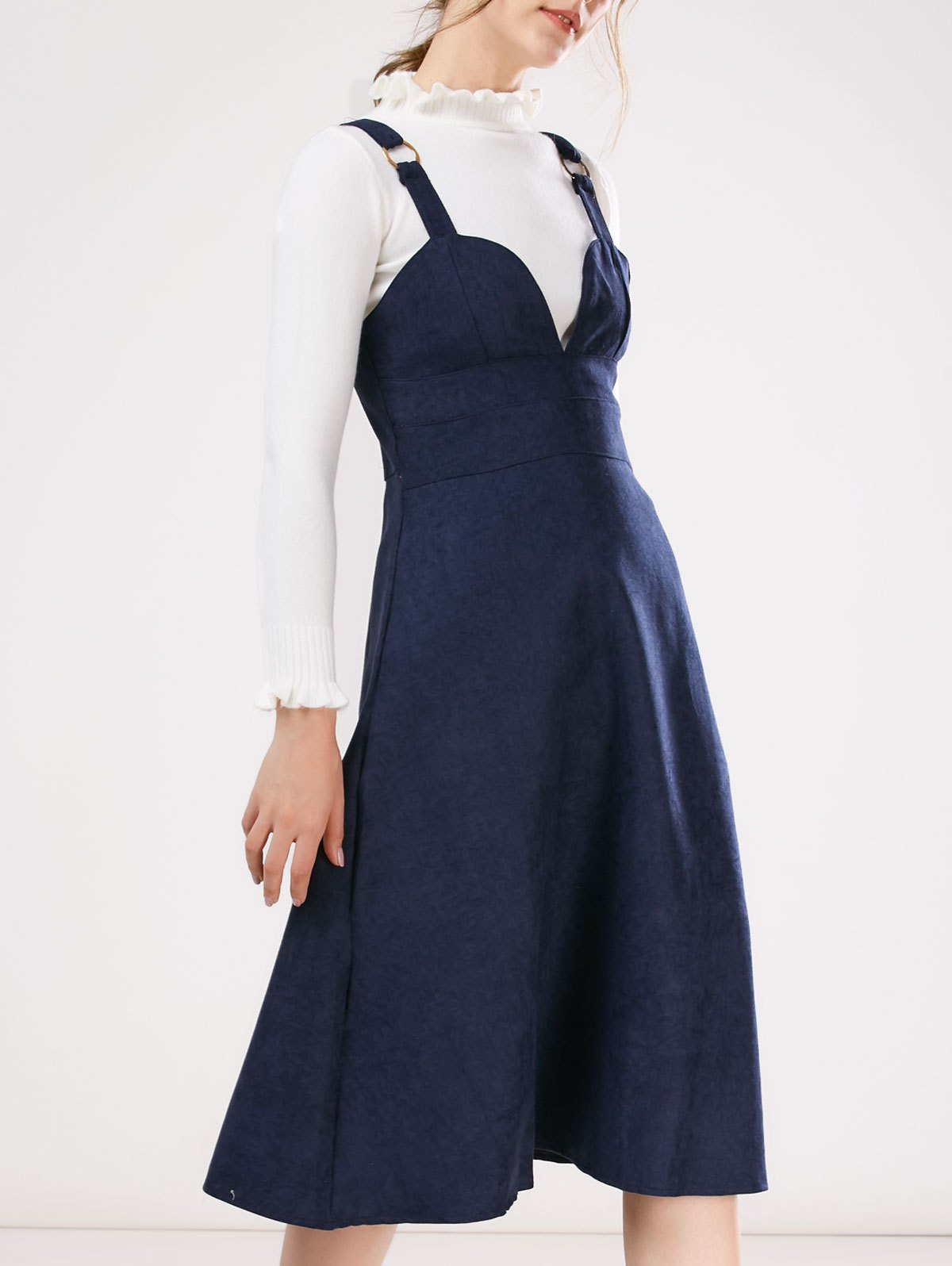 Pinafore Faux Suede A-Line Dress With Fitting Knitwear
