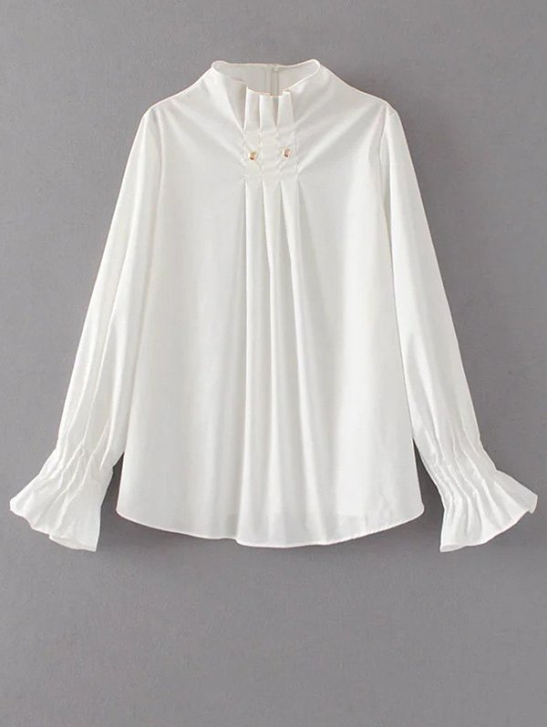 Flare Sleeve Draped Blouse