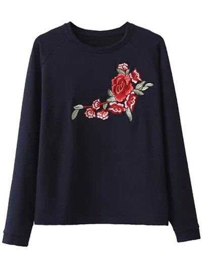 Raglan Sleeve Floral Embroidered Sweatshirt