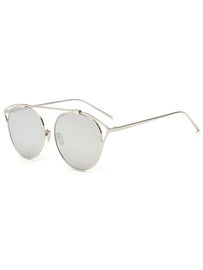 Hollow Out Cat Eye Frame Mirrored Sunglasses