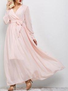 Belt Maxi Surplice Dress - Pink