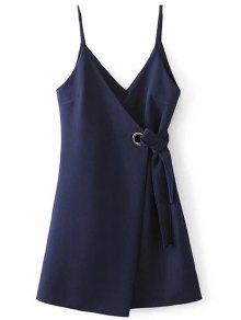 A Line Wrap Slip Dress - Purplish Blue