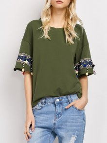 Embroidered Pompom Sleeve Tee - Army Green