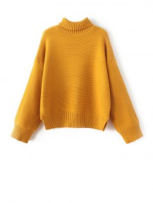 Buy Drop Shoulder Chunky Turtleneck Sweater ONE SIZE GOLDEN YELLOW