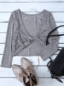 Heathered Long Sleeve Twist T-Shirt