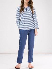 Pyjama T-Shirt rayé avec patch au cou+ Pantalon