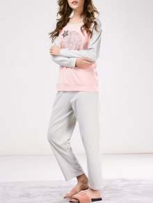 Two Tone Printed Tee with Pants Loungewear