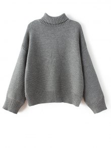 Buy Drop Shoulder Chunky Turtleneck Sweater ONE SIZE GRAY