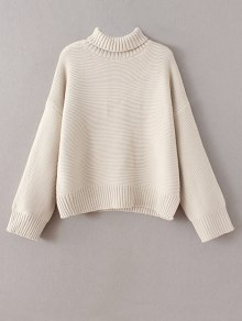 Buy Drop Shoulder Chunky Turtleneck Sweater ONE SIZE OFF WHITE