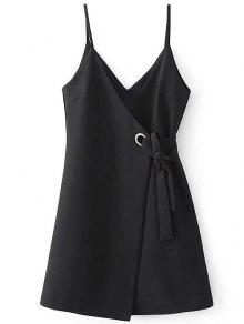 A Line Wrap Slip Dress - Black S