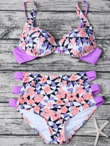 Geometric Floral Print High Waisted Bikini