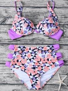 Geometric Floral Print High Waisted Bikini