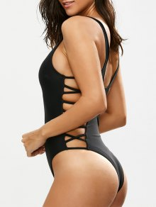 Crisscross Strap Cut Out Swimsuit - Black