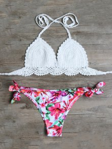 Floral Crocheted Bikini Set - White M