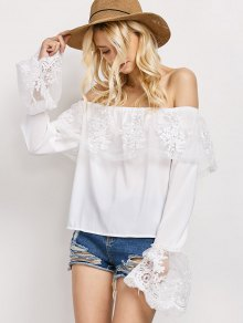 Lace Chiffon Off The Shoulder Top - White L