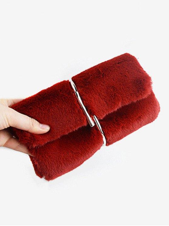 Flapped Faux Fur Clutch Bag - CLARET  Mobile