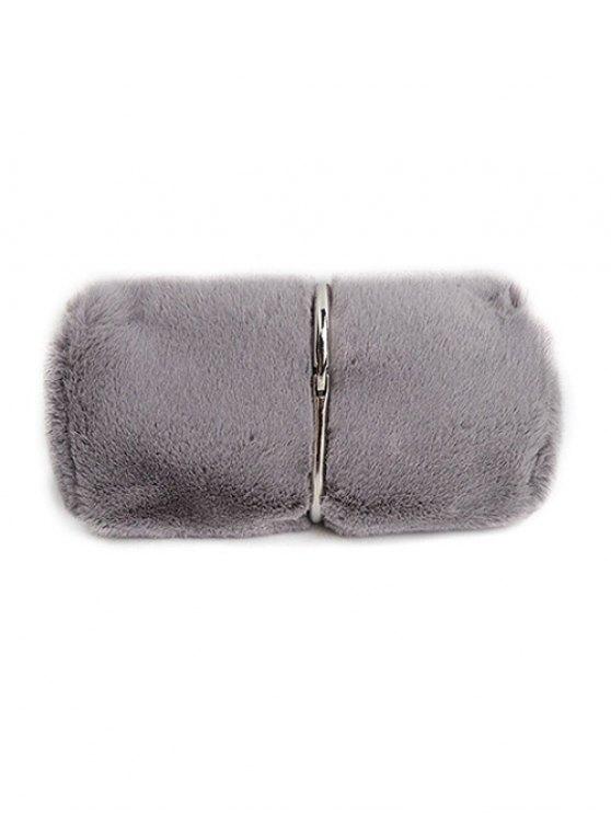 Flapped Faux Fur Clutch Bag - GRAY  Mobile