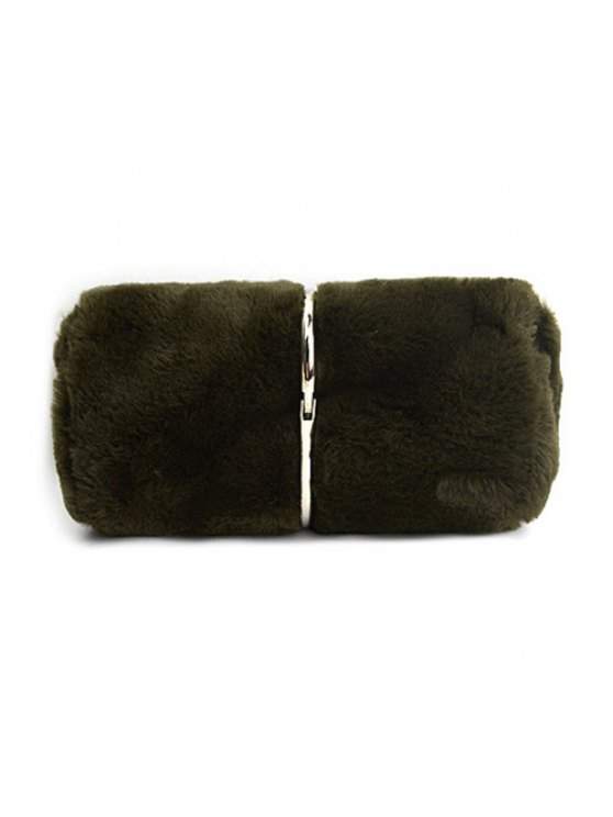 Flapped Faux Fur Clutch Bag - GREEN  Mobile