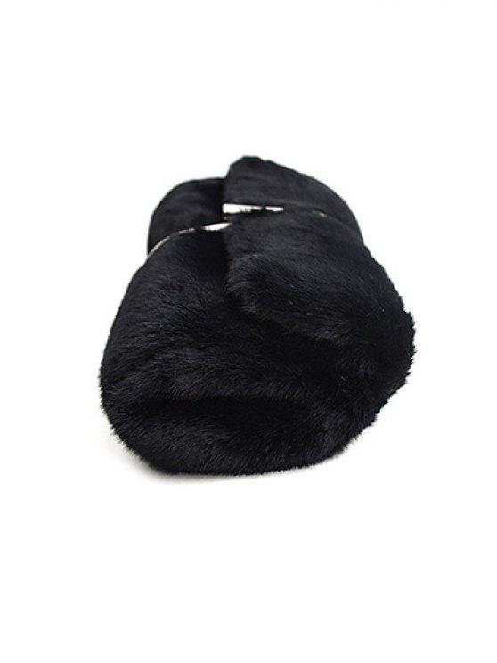 Flapped Faux Fur Clutch Bag - BLACK  Mobile