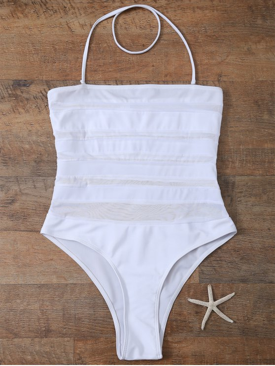 Halter One-Piece See Through Bathing Suit - WHITE M Mobile