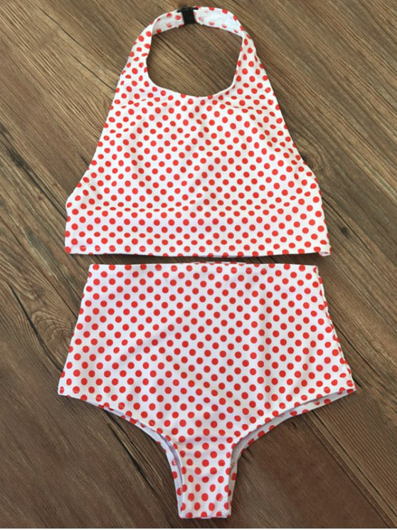 High Waisted Polka Dot Vintage Bikini - RED XL Mobile