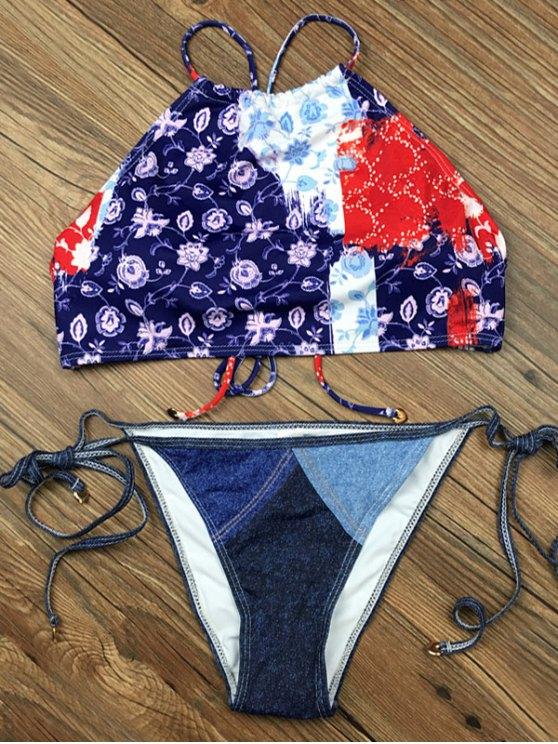 Crosscriss Floral Panel Bikini Set - BLUE S Mobile
