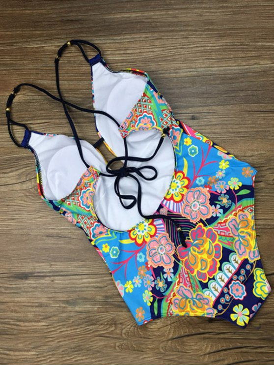 Printed Ethnic Style One-Piece Swimwear - BLUE L Mobile