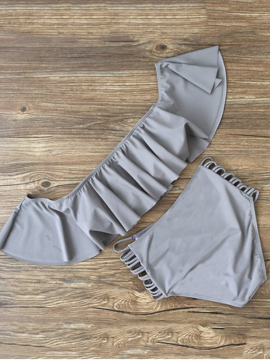 Flounced Off The Shoulder Bikini - GRAY L Mobile