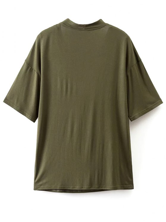 Choker Drop Shoulder T-Shirt - GREYISH GREEN M Mobile