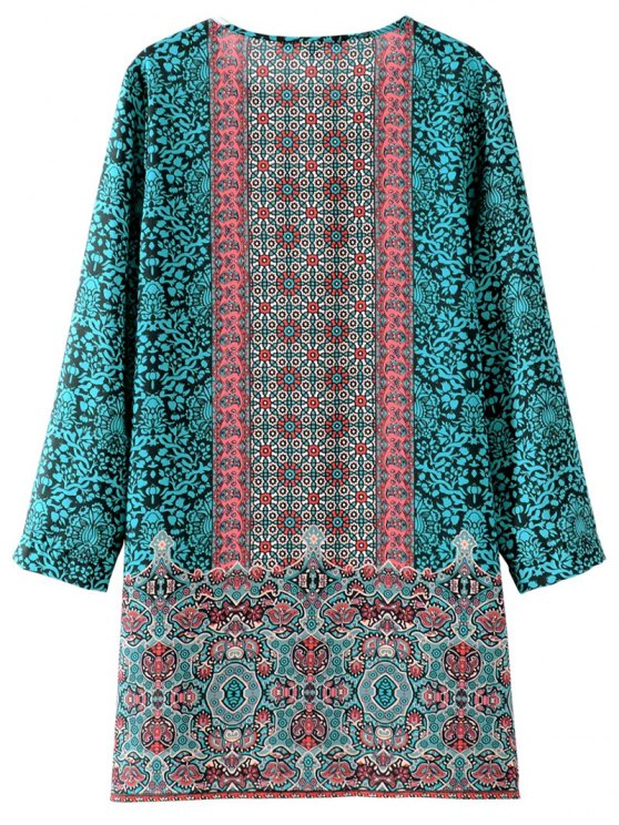 Printed Vintage Long Sleeve A-Line Dress - GREEN M Mobile