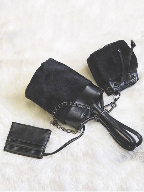 Chains Plush Panel Bucket Bag - BLACK  Mobile