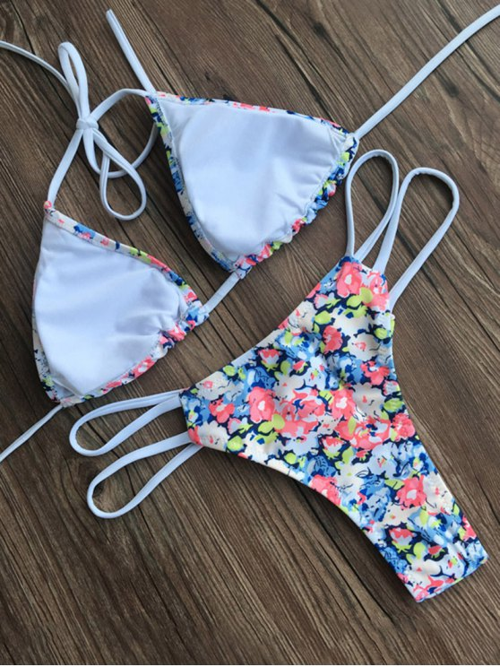 Halter Tiny Floral Swimsuit - FLORAL S Mobile