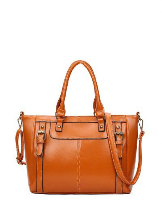 Buckles Embellished PU Leather Handbag - BROWN  Mobile