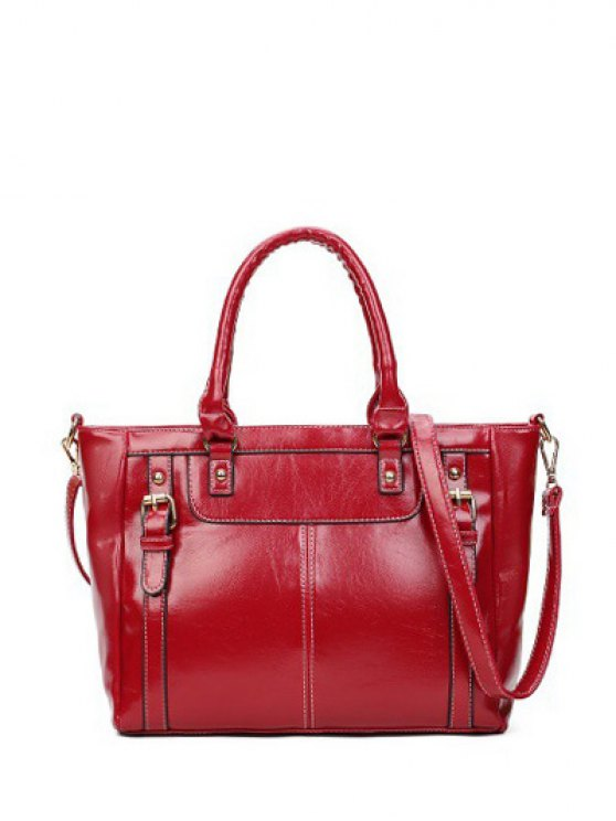 Buckles Embellished PU Leather Handbag - WINE RED  Mobile