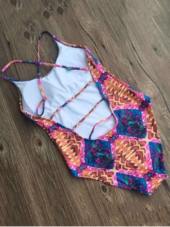 Printed Criss-Cross Swimwear - COLORMIX XL Mobile