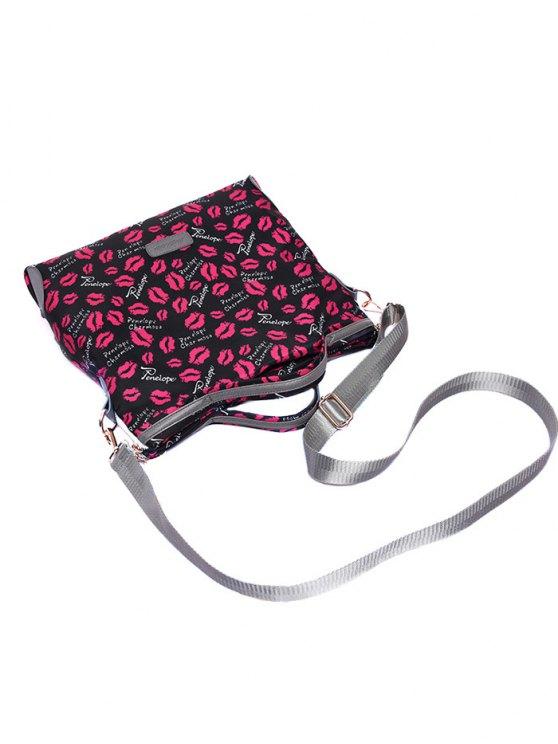 Printed Handbag With Coin Purse - BLACK  Mobile