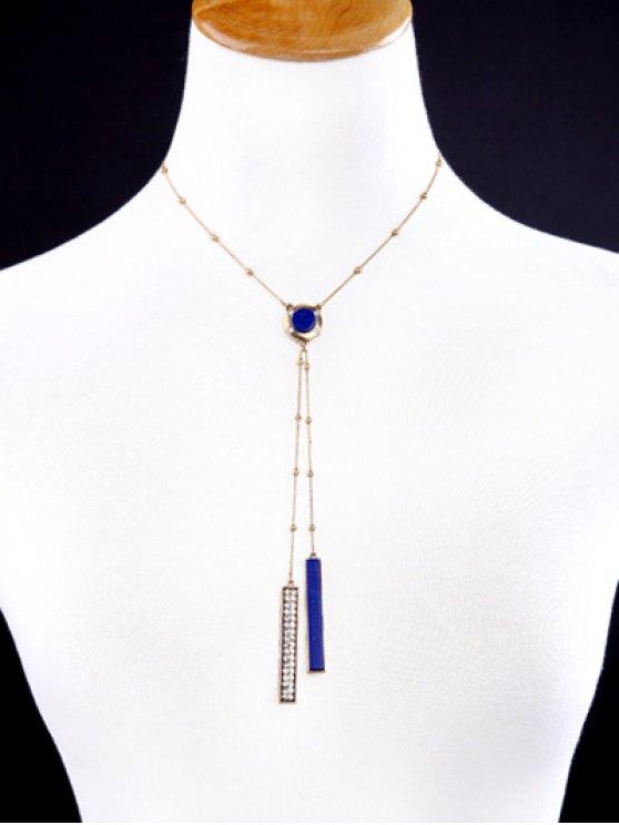 Rhinestone Bar Pendant Necklace - GOLDEN  Mobile