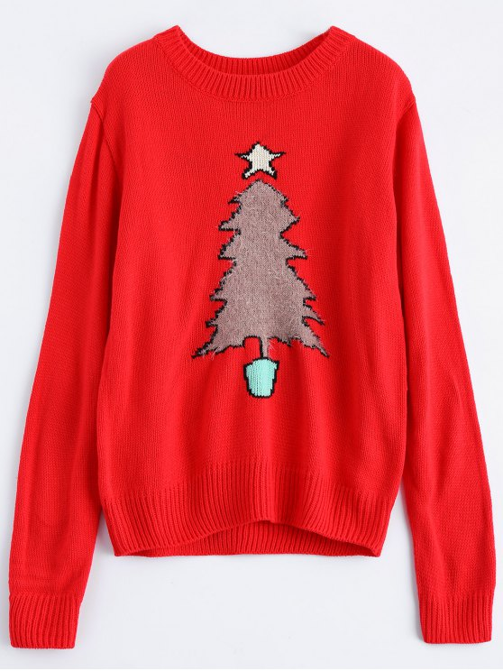 Christmas Tree Jacquard Pullover Sweater - RED M Mobile