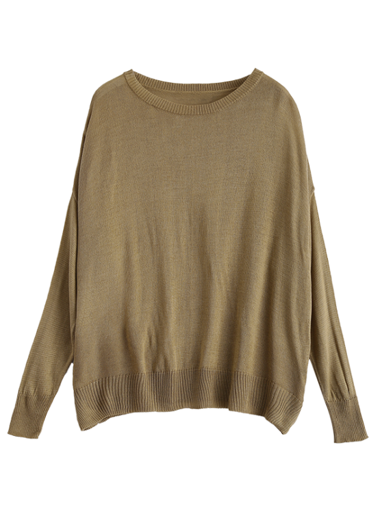 Batwing Sleeve Drop Shoulder Knitwear - BROWN M Mobile