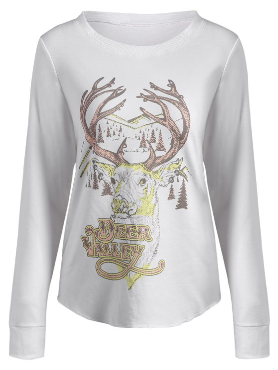 Christmas Reindeer Print Sweatshirt - OFF-WHITE L Mobile