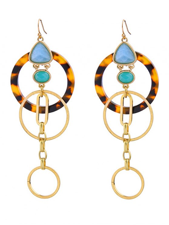 Circle Faux Gem Earrings - GOLDEN  Mobile