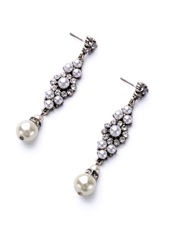 Floral Faux Pearl Earrings - WHITE  Mobile