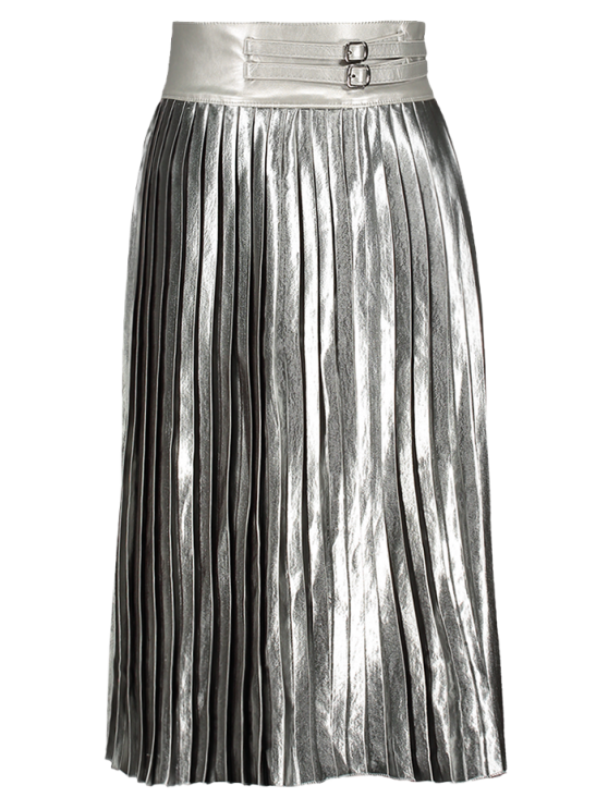Zippered Pleated Midi Skirt - SILVER ONE SIZE Mobile