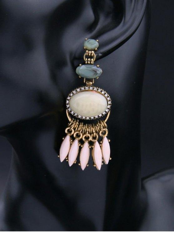 Faux Gemstone Fringed Earrings - GOLDEN  Mobile